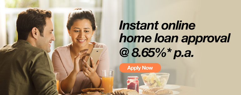 Instant online home loan approval @ 8.65%* p.a.